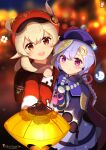 2girls ahoge backpack bag bangs bead_necklace beads blurry braid brown_gloves brown_scarf cabbie_hat chinchongcha chinese_clothes clover_print coat coin_hair_ornament commentary_request depth_of_field eyebrows_visible_through_hair genshin_impact gloves hair_between_eyes hat hat_feather hat_ornament highres jewelry jiangshi klee_(genshin_impact) lantern light_brown_hair long_hair long_sleeves looking_at_viewer low_ponytail low_twintails multiple_girls necklace ofuda orange_eyes pointy_ears purple_hair qing_guanmao qiqi_(genshin_impact) randoseru red_coat red_headwear scarf sidelocks single_braid twintails violet_eyes vision_(genshin_impact)