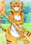 1girl animal_costume animal_print artist_name blush fate/grand_order fate_(series) fujimura_taiga gloves highres hood jaguarman_(fate/grand_order) orange_eyes orange_hair sato-pon sparkle staff tiger_costume tiger_print