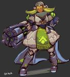 1girl arm_cannon breasts clenched_hand coattails cubu3 dark_skin eyeshadow full_body green_hair half-closed_eyes large_breasts makeup mecha_musume orisa_(overwatch) overwatch personification solo weapon whisker_markings yellow_eyes
