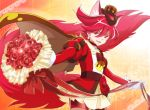1girl animal_ears artist_name bouquet brown_cape cape choker cure_chocolat dog_ears dog_tail earrings extra_ears flower gloves hat jewelry kenjou_akira kirakira_precure_a_la_mode magical_girl precure red_eyes redhead rose short_hair tail tsujiori white_gloves