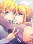 1boy 1girl :t alternate_costume arm_around_neck blonde_hair blue_eyes bow brother_and_sister casual chips food hair_bow hair_ornament hairclip head_to_head hood hoodie hug kagamine_len kagamine_rin kuroi_(liar-player) lens_flare looking_at_viewer looking_to_the_side mouth_hold necktie potato_chips short_hair siblings twins upper_body v viewfinder vocaloid
