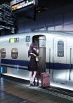 2girls blush building chikuwa_(glossymmmk) city commentary dress embarrassed ground_vehicle high_heels hug japan_railways long_hair looking_away multiple_girls night original pantyhose purple_hair red_legwear scenery shinkansen sign suitcase train train_station train_station_platform twintails xo