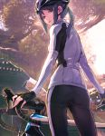 1girl architecture bicycle bicycle_helmet bike_horn bike_jersey black_hair brown_hair east_asian_architecture ground_vehicle helmet highres long_hair looking_at_viewer looking_back outdoors parted_lips sabaku_no_tanuki solo tree