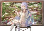 1girl bai_qi-qsr bench branch butterfly hands_up long_hair looking_at_viewer picture_frame plant purple_hair sidelocks sitting solo striped striped_legwear thigh-highs vines vocaloid vocanese xingchen yellow_eyes