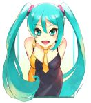 1girl :d aqua_eyes aqua_hair breasts cawang dress hatsune_miku long_hair looking_at_viewer necktie open_mouth sleeveless sleeveless_dress smile solo teeth twintails vocaloid