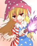 1girl american_flag_dress blonde_hair clownpiece dress fairy_wings fire hat highres jester_cap long_hair looking_at_viewer mega_yukke middle_finger neck_ruff open_mouth polka_dot red_eyes short_dress short_sleeves solo star star_print striped teeth torch touhou wings