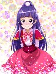 1girl arms_behind_back bow highres izayoi_liko long_hair looking_at_viewer mahou_girls_precure! nakahira_guy pink_eyes plaid plaid_bow ponytail precure purple_hair smile solo
