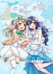 2girls :d blue_hair blush bridal_veil brown_eyes brown_hair cosplay crossover dress hand_holding jewelry locked_arms long_hair love_live! love_live!_school_idol_project minami_kotori mono_land multiple_girls necklace open_mouth pokemon pokemon_(creature) pokemon_(game) pokemon_sm primarina primarina_(cosplay) rowlet rowlet_(cosplay) shawl smile sonoda_umi thigh-highs veil zettai_ryouiki