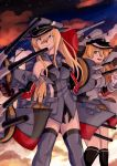 2girls anchor_hair_ornament bismarck_(kantai_collection) blonde_hair blue_eyes brown_gloves clouds cloudy_sky detached_sleeves gloves hair_ornament hand_on_hip highres hyakusei kantai_collection kneehighs long_hair machinery multiple_girls pleated_skirt prinz_eugen_(kantai_collection) skirt sky star_(sky) starry_sky thigh-highs thumbs_up turret twilight twintails v white_gloves