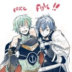 2boys armor blue_hair cape english ephraim fire_emblem fire_emblem:_kakusei fire_emblem:_seima_no_kouseki krom lowres multiple_boys outstretched_arms pauldrons short_hair simple_background smile thumbs_up white_background