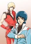 2boys blonde_hair blue_hair char_aznable fxstc1996 gundam highres kamille_bidan multiple_boys quattro_vageena short_hair simple_background smile zeta_gundam