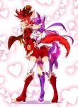 2girls animal_ears ass ass_grab bike_shorts brown_hat cat_ears cat_tail choker cure_chocolat cure_macaron dog_ears dog_tail earrings elbow_gloves extra_ears food_themed_hair_ornament full_body gloves hair_ornament hat heart highres jewelry juvecross kenjou_akira kirakira_precure_a_la_mode kotozume_yukari long_hair looking_at_another macaron_hair_ornament magical_girl multiple_girls precure puffy_sleeves purple_choker purple_hair red_eyes redhead short_hair skirt tail violet_eyes white_gloves yuri