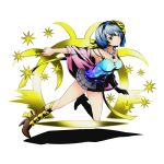 1girl black_skirt blue_hair blue_hairband blue_shirt boots breasts brown_boots brown_eyes cleavage collarbone divine_gate fairy_tail flower full_body hair_flower hair_ornament hair_ribbon hairband high_heels holding jewelry key large_breasts layered_skirt necklace official_art pleated_skirt ribbon see-through shadow shirt short_hair skirt sleeveless sleeveless_shirt solo star transparent_background ucmm yellow_flower yellow_ribbon yukino_aguria