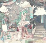 1girl angel barefoot bathtub bird clouds couch easel extension_cord flower full_body green_eyes green_hair hatsune_miku highres ixima paint paintbrush paper_chain plant potted_plant scissors solo squatting stairs star stepladder tape twintails vocaloid