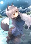 1girl :o animal_ears arm_at_side bangs black_bow black_bowtie black_legwear black_shoes black_skirt blue_gloves blue_jacket bow bowtie breasts cowboy_shot dress_shirt eyebrows_visible_through_hair fox_ears fox_tail full_moon fur-trimmed_sleeves fur_trim gloves grass high_heels highres inu3 jacket kemono_friends leg_up legs_together long_hair long_sleeves looking_at_viewer medium_breasts miniskirt moon mountain night night_sky one_leg_raised outdoors pantyhose pleated_skirt rock shirt shoes sidelocks silver_fox_(kemono_friends) silver_hair skirt sky snow solo standing standing_on_one_leg tail v_arms yellow_eyes