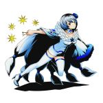 1girl blue_flower boots breasts brown_eyes cape choker collarbone divine_gate dress fairy_tail flower full_body hair_flower hair_ornament high_heels holding key medium_breasts official_art shadow short_hair silver_hair solo star thigh-highs thigh_boots transparent_background ucmm white_boots white_dress yukino_aguria