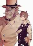 1boy 1girl beard bespectacled facial_hair formal glasses gorilla greyscale hat monochrome mustache overwatch semi-rimless_glasses short_hair suit top_hat tracer_(overwatch) under-rim_glasses waistcoat winston_(overwatch) xian_che