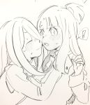 2girls blush hair_over_one_eye highres ichigo_choco kagari_atsuko little_witch_academia long_hair multiple_girls open_mouth pale_color sketch sucy_manbavaran surprised yuri
