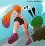 !! 1girl ass bike_shorts from_below garabato hands_on_hips inkling orange_hair pointy_ears shoes sneakers splatoon squid tentacle_hair watermark web_address