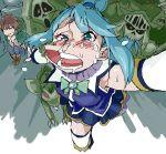 1boy 1girl aliasing aqua_(konosuba) blue_eyes blue_hair blush jyuri_(pixiv274999) kono_subarashii_sekai_ni_shukufuku_wo! long_hair monster running satou_kazuma snot sweat tears thigh-highs