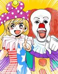 1boy 1girl :d american_flag_dress blonde_hair clown clownpiece commentary foreshortening gloves hat highres it_(stephen_king) jester_cap komaku_juushoku legacy_of_lunatic_kingdom open_mouth pennywise pink_eyes pointing pointing_at_viewer red_nose redhead smile teeth touhou