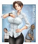1girl 2boys arm_hair artist_name blush breasts brown_eyes brown_hair character_name collared_shirt dated hand_on_hip highres large_breasts looking_at_watch multiple_boys original otokomaenesan_(unbalance) parted_lips shirt sweatdrop thigh_gap unbalance watch watch