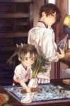 2girls basket bottle breasts brown_eyes brown_hair cabinet carrot commentary_request cooking daikon drawer faucet food fukazaki_(g425hw45) green_eyes green_hair grey_hair hair_ribbon hakama_skirt hip_vent holding holding_bottle indoors japanese_clothes kaga_(kantai_collection) kantai_collection kappougi kimono long_hair long_sleeves looking_back multiple_girls pleated_skirt protected_link ribbon side_ponytail sink skirt smile soap twintails vegetable white_ribbon younger zuikaku_(kantai_collection)