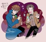 2boys blue_eyes bow bowtie bowtruckle briefcase brown_eyes brown_hair character_name coat crossover doctor_who eleventh_doctor fantastic_beasts_and_where_to_find_them jacket male_focus multiple_boys newt_scamander one_eye_closed short_hair smile sonic_screwdriver sweatdrop tellmin the_doctor trait_connection wand