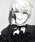 1boy blue_eyes choker frilled_sleeves frills gloves grey_background hand_on_another's_arm hand_on_another's_cheek hand_on_another's_face nier_(series) nier_automata shirt smile upper_body walzrj white_hair yorha_no._9_type_s