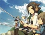 4boys asakura_you black_hair black_shorts blue_hair brown_eyes brown_hair closed_eyes closed_mouth clouds fish fishing green_pants headband headphones looking_at_another male_focus multiple_boys open_mouth oyamada_manta pants pixiv_id_367157 shaman_king shirt short_hair shorts sky smile tao_ren usui_horokeu white_shirt