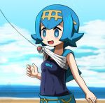 1girl bare_arms beach blue_eyes blue_hair blue_sky blush breasts clouds covered_navel day female fishing_hook fishing_line fishing_rod hair_ornament kaki_(pokemon) ocean one-piece_swimsuit open_mouth outdoors pants pokemon pokemon_(game) pokemon_sm shirt shirt_lift short_hair sky sleeveless sleeveless_shirt small_breasts solo suiren_(pokemon) surprised sweatdrop swimsuit swimsuit_under_clothes takamame upper_body wide-eyed