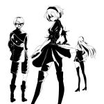 1boy 2girls android bag bare_shoulders black_clothes blindfold boots breasts dress full_body gloves greyscale hair_between_eyes highres juliet_sleeves long_hair long_sleeves mole mole_under_mouth monochrome multiple_girls nier_(series) nier_automata puffy_sleeves short_hair shorts thigh-highs thigh_boots white_background yorha_no._2_type_b yorha_no._9_type_s yorha_type_a_no._2