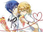 1boy 1girl arisato_minato eating headphones heart hug hug_from_behind jacket parfait pate_(tbit) persona persona_3 shirt simple_background takeba_yukari white_background yuuki_makoto