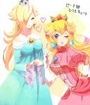 2girls blonde_hair blue_dress blue_eyes breasts crown dress earrings elbow_gloves gloves jewelry long_hair medium_breasts multiple_girls nintendo one_eye_closed pink_dress poo princess_peach rosetta_(mario) smile super_smash_bros. wand