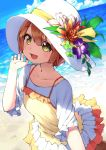 1girl :d absurdres beach blue_sky brown_hair clouds flower frilled_skirt frilled_sleeves frills hat hat_flower hat_leaf hat_ribbon highres hoshizora_rin looking_at_viewer love_live! ocean okarin_(tennisofoka) open_mouth orange_flower outdoors pink_flower purple_flower ribbon shaded_face shirt short_hair short_sleeves skirt sky smile solo spaghetti_strap white_hat white_shirt white_skirt yellow_eyes yellow_ribbon