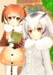 2girls :o blonde_hair blush book bookshelf brown_hair bush buttons coat collar dot_nose eurasian_eagle_owl_(kemono_friends) expressionless eyebrows_visible_through_hair eyelashes fur_collar gradient_eyes gradient_hair grey_hair hair_between_eyes head_wings holding holding_book indoors jyan_borii kemono_friends library long_sleeves looking_at_viewer looking_away multicolored multicolored_eyes multicolored_hair multiple_girls northern_white-faced_owl_(kemono_friends) open_mouth orange_coat orange_eyes orange_hair outline pantyhose pocket sandstar short_hair tail tareme traditional_media triangle_mouth white_coat white_hair white_legwear white_outline wings