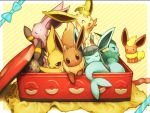 :< :3 :d :p ^_^ ^o^ black_eyes blue_bow bow box brown_eyes closed_eyes closed_mouth diagonal_stripes eevee espeon flareon glaceon in_box in_container jitome jolteon leafeon looking_at_viewer no_humans open_mouth poke_ball_print pokemon pokemon_(creature) red_eyes scratching sitting sleeping smile solid_oval_eyes striped striped_background sylveon teardrop tongue tongue_out umbreon vaporeon violet_eyes