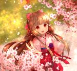 1girl blush bow brown_eyes brown_hair cherry_blossoms hair_bow hakama idolmaster idolmaster_cinderella_girls idolmaster_cinderella_girls_starlight_stage japanese_clothes long_hair looking_at_viewer open_mouth ponytail sally_(pacch0614) solo very_long_hair yorita_yoshino