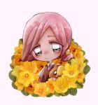 blush chibi eastxeden flower grey_eyes highres ilima_(pokemon) pink_hair pokemon pokemon_(game) pokemon_sm yellow_flower yungoos