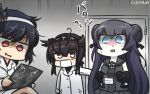 3girls black_hair black_serafuku blue_eyes blush commentary dated double_bun gloves hachimaki hairband hamu_koutarou hatsuzuki_(kantai_collection) headband highres kantai_collection labcoat legs_crossed light_cruiser_oni long_hair multiple_girls red_eyes school_uniform serafuku shaded_face shinkaisei-kan shirt short_hair sleeveless sleeveless_shirt snot surgical_mask yamashiro_(kantai_collection)