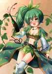 1girl ;o alcohol blush bottle bow bra breasts chisato_(missing_park) cleavage dagger fang flower_knight_girl green_bow green_bra green_eyes green_hair green_skirt hair_bow hop_(flower_knight_girl) jewelry long_hair medium_breasts necklace object_namesake one_eye_closed open_mouth orange_background plant shirt side_ponytail skirt solo thigh-highs underwear vines weapon white_legwear wine wine_bottle