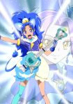 2girls :d animal_ears bangs blue_choker blue_eyes blue_gloves blue_hair blue_legwear blue_shirt blue_skirt brooch closed_mouth cloud_print color_connection cropped_legs crown cure_beat cure_gelato earrings electric_guitar extra_ears gloves guitar happy instrument jewelry kirakira_precure_a_la_mode kurokawa_eren layered_skirt lion_ears lion_tail long_hair looking_at_viewer love_guitar_rod magical_girl mini_crown moritakusan multiple_girls open_mouth parted_bangs precure print_skirt purple_hair seiren_(suite_precure) shirt single_thighhigh skirt smile suite_precure tail tategami_aoi teeth thigh-highs white_skirt yellow_eyes