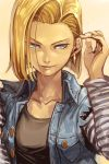 >:) 1girl adjusting_hair android_18 arm_up black_shirt blonde_hair blue_eyes bob_cut buttons collarbone cropped_jacket denim denim_jacket dragon_ball dragon_ball_z dragonball_z earrings hankuri hoop_earrings jewelry layered_clothing long_sleeves shirt short_hair simple_background solo striped_sleeves torn_clothes torn_sleeves upper_body