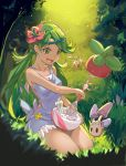 1girl :d apron bangs bare_arms bone bounsweet bowl breasts bush collarbone commentary cream dark_skin flower flower_on_head forest grass green_eyes green_hair hair_flower hair_ornament highres lurantis mao_(pokemon) mixer_(cooking) morelull nature open_mouth outdoors pink_shirt pokemon pokemon_(creature) pokemon_(game) pokemon_sm seiza shirt sitting sleeveless sleeveless_shirt smile sparkling_eyes swept_bangs thighs tree trial_captain twintails zhu_mu_cunix