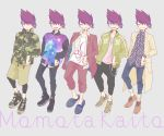 animal_print beard camouflage_hoodie chains danganronpa denim dress-up facial_hair formal goatee highres jacket jeans jewelry khakis leopard_print letterman_jacket loafers looking looking_at_viewer looking_to_the_side male_focus momota_kaito necklace new_danganronpa_v3 open open_mouth pants purple_hair school_uniform shirt shoes short_hair slacks slippers smile space_print spiky_hair starry_sky_print track_jacket track_pants violet_eyes winking