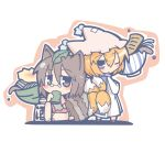 2girls animal_ears blonde_hair blue_eyes bowl brown_eyes brown_hair chibi cup fox_tail futatsuiwa_mamizou glasses gourd hat kitsune_udon leaf leaf_on_head looking_back multiple_girls multiple_tails one_eye_closed ooyama_bokuchi pince-nez raccoon_ears raccoon_tail sitting tabard tail touhou udon yakumo_ran yunomi