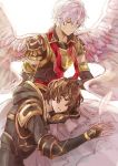 2boys angel_wings armor blue_eyes brown_hair closed_eyes commentary_request elbow_gloves gloves granblue_fantasy hand_on_another's_head hood hood_down hooded_jacket jacket kazuhito_(1245ss) lap_pillow long_sleeves lucifer_(shingeki_no_bahamut) multiple_boys pink_hair sandalphon_(granblue_fantasy) short_sleeves shoulder_armor sitting sleeping smile spread_wings translation_request white_background wings