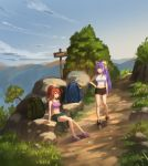 2girls absurdres ahoge antenna_hair backpack bag blazblue blue_hair blue_sky bow breasts brown_eyes brown_hair bush celica_a_mercury clouds day evening full_body genderswap genderswap_(mtf) grass hair_between_eyes hair_bow hair_ribbon hand_on_hip highres hiking large_breasts long_hair looking_at_another mai_natsume medium_breasts midriff mountain multiple_girls nature navel open_mouth outdoors plant ponytail ribbon road_sign rock scenery sendrawz shoes short_shorts shorts sidelocks sign sitting sky standing tank_top tired trail tree very_long_hair violet_eyes