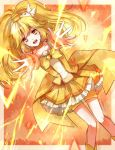 1girl an-mar blonde_hair choker collarbone cure_peace eyebrows_visible_through_hair floating_hair hair_ornament high_ponytail highres kise_yayoi long_hair looking_at_viewer magical_girl open_mouth precure shorts shorts_under_skirt skirt smile_precure! solo very_long_hair yellow_eyes yellow_shorts yellow_skirt
