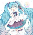 1girl :d absurdly_long_hair aqua_eyes aqua_hair boots detached_sleeves dress elbow_gloves fingerless_gloves gloves hair hair_between_eyes hatsune_miku highres knee_boots long_hair looking_at_viewer magical_mirai_(vocaloid) musical_note open_mouth red_ribbon red_skirt ribbon rod skirt smile thigh-highs twintails very_long_hair vocaloid wand white_boots white_dress white_gloves zettai_ryouiki